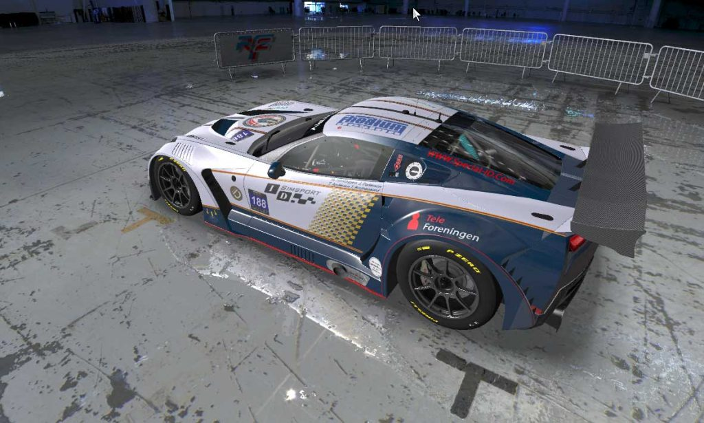 ID Simsport Corvette drying off in the paint shop garage